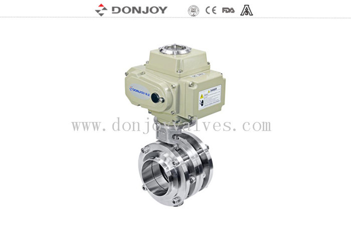 Stainless Steel Sanitary Level Butterfly Valves Ball Type With Electic Actuator