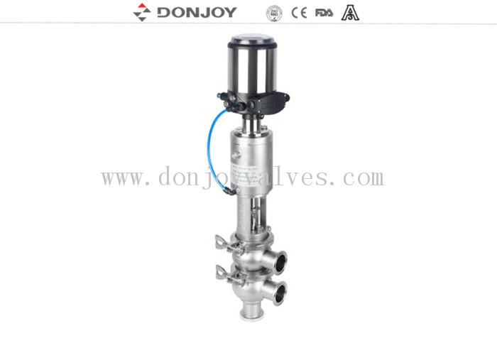 Aseptic sanitary reversing seat valve DN25 - DN150 with pneumatic actuator 316L